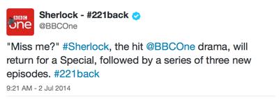 Sherlock tweet