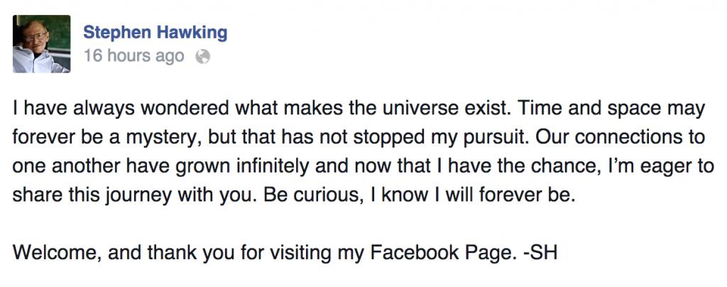 Hawking Facebook