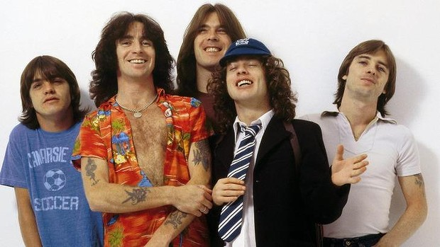 AC/DC - Malc, Bon, Cliff, Angus, and Phil